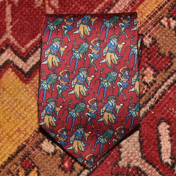 Dior Other - Christian Dior Red Silk Jester Clown FALL TIE!